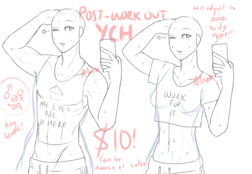 [ YCH ] Bathroom Gym Selfies - OPEN! by SaikoStation