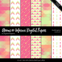 Arrows And Mosaic Digital Papers by MysticEmma