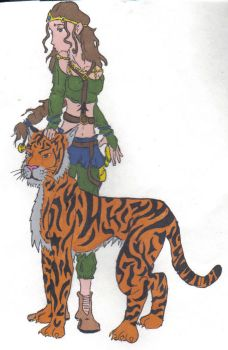 Girl with Tiger by Firetiger12