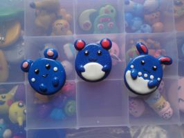 Azurill Marill Azumarill polymer clay pin/ magnet by dsam4