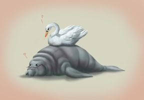 The Swan And The Manatee by Mothmona
