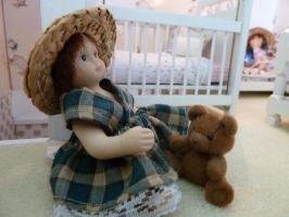 Playing with old teddy by Mels-Miniatures
