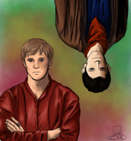 Merlin + Arthur by kneelmortals