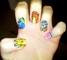 Kanto Starter Pokemon Nails 2 by Chelseapoops