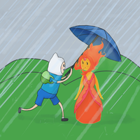 Adventure Time - Flame Princess and Finn by abbic314
