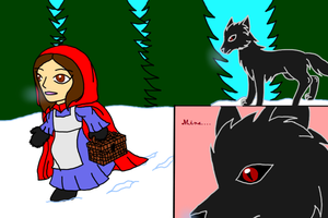 Little Red Hood Mina and Dracula Wolf by DominotheFembot