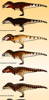 An image with a lot of Tyrannosauri on it by ZeWqt
