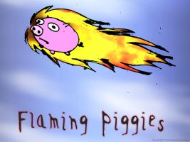 Flaming Piggies by swineandroses
