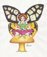 fairy on a mushroom - color3 by thestoryteller1