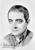 Rowan Atkinson - pencil drawing by vilindery