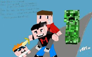 Old Drawing of markiplier/Wade/BoB minecraft by LittleMissDavida123