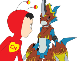 Chapulin and Flamedramon by SuperMarcosLucky96