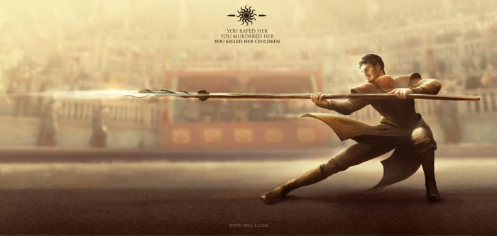 Oberyn Martell, the Red Viper of Dorne by nell-fallcard