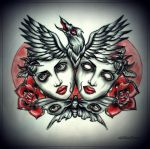 DEAD HEADS with RAVEN tattoo design by oldSkullLovebyMW