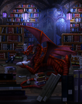 Commission - Alyxion the Bookwyrm(Night) by Cryophase