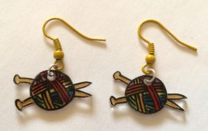 Rainbow knitting earrings by Lovelyruthie