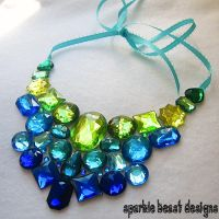 Blue-Green Rhinestone Necklace by Natalie526