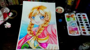 Commission: anna from frozen by CamiIIe