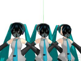 MMD - Scary Mikus by AbsentWhite