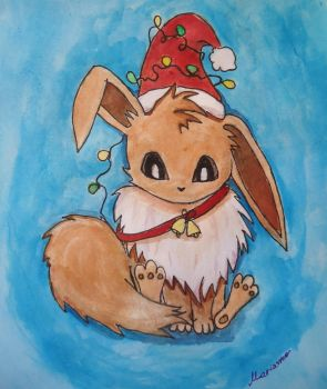 Christmass eevee gift by luckyCoyote