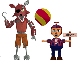MMD FNaF 2 Whitered Foxy and BB -DOWNLOAD- by MMDlovemiku