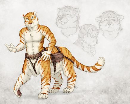 Golden Tabby Tiger Taur by TheTiedTigress