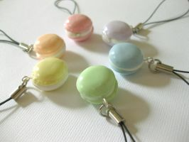 Pastel Macaron Cell Phone Straps by DarkFireRaven