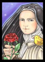 Saint Therese and Red Rose by natamon