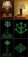 Perler Bead Lamp with Glowing Saiyan Royal Crest by Delilah2012
