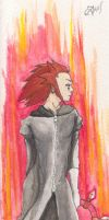 KH2 - Axel_ flames by Ithilean