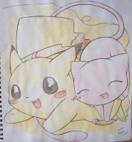 Mew and Pikachu by Kidura