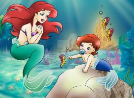 Ariel and her baby brother by Szaloncukor
