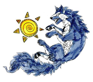 Wolf and Sun by littleMURE