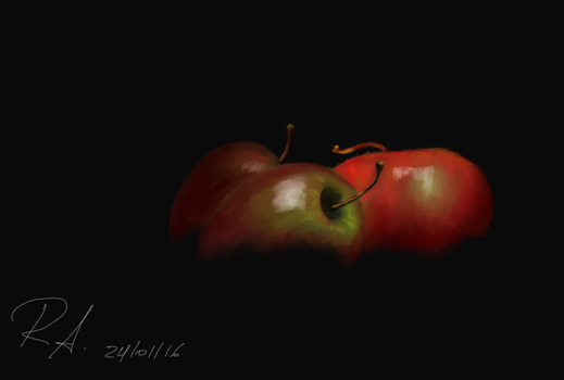 Apples in the dark (Charcoal/MyPaint) by RdLArts