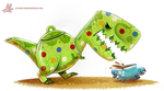 Daily Paint #1208. Tea-Rex by Cryptid-Creations