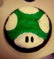 Mario Bro's 1up Cake. by Human-Canvas