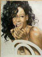 Rihanna Pencil art WIP3-Turanneth by turanneth