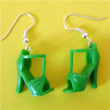 Green barbie sandal earrings by Quirkz