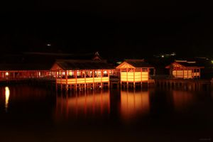 Itsukushima-jinja by night and high tide by prozzaks