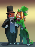 Mad hatter and penguin by pink-ninja