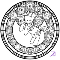 Stained Glass: Twilight Sparkle -line art- by Akili-Amethyst