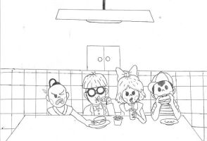 earthbound at restaurant by mother3Flint