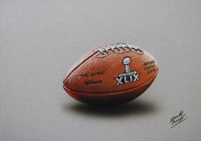 NFL Super Bowl XLIX Game Ball DRAWING by marcellobarenghi