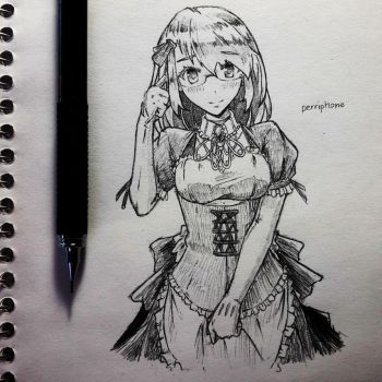 Maid Generic Waifu with glasses. by Periphone