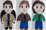 SPN magnetic Fridge Friends: Sam, Dean and Cas by songbird21