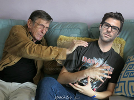 Nimoy and Quinto on a Sofa. Honest! by spock2u