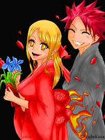 Lucy and Natsu - coloured request. by felixne