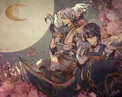 Touken Ranbu - The Moon and rabbits by Miyukiko