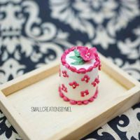 Pink Flower Cake by SmallCreationsByMel