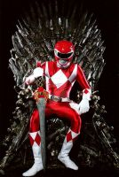 Red ranger sitting on iron throne by anandapun